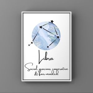 Libra Zodiac sign constellation blue art print